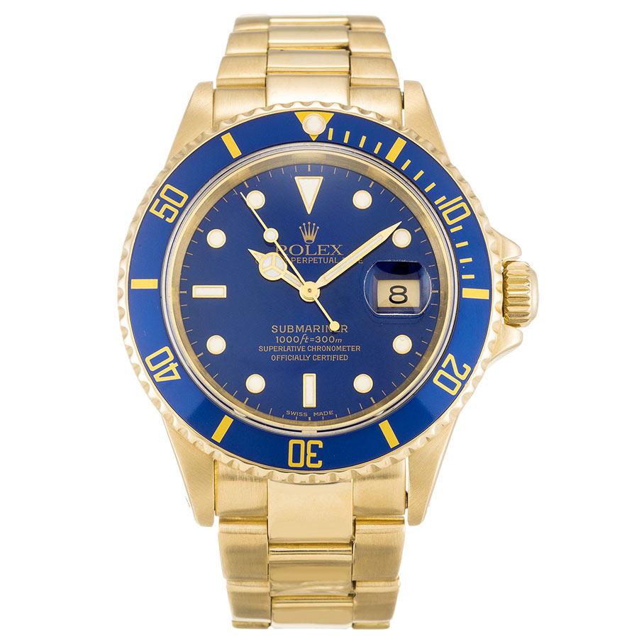 Rolex Submariner 16618LB 18K Yellow Gold ¡°Sunburst¡± Blue Dial And Bezel width=500