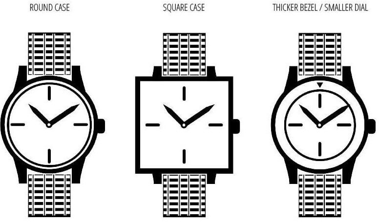 three replica watches with same case size