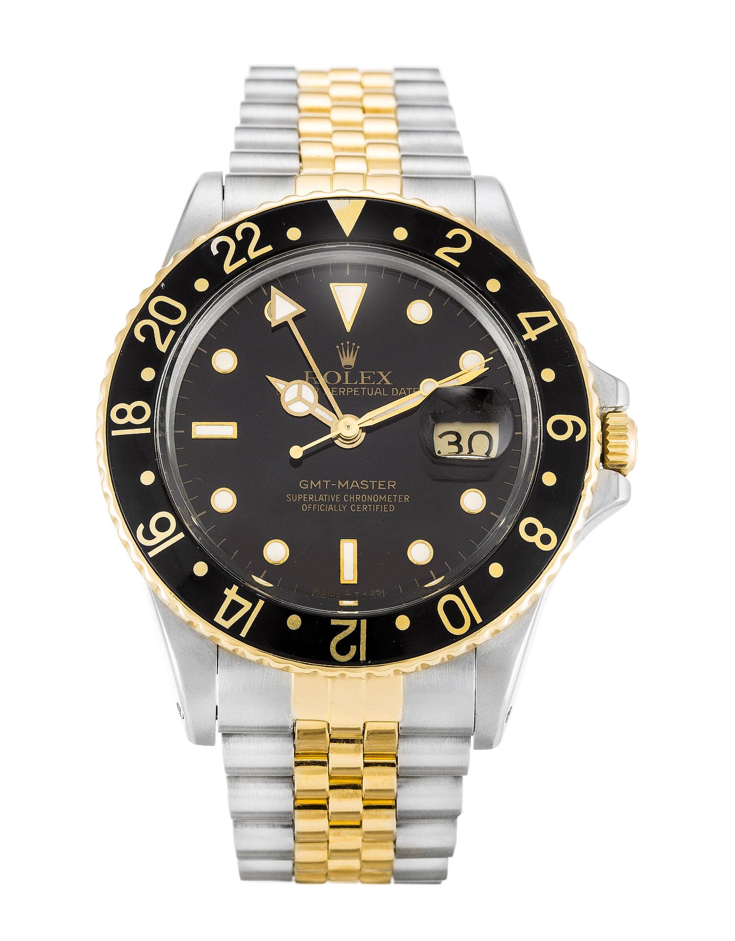 replica Rolex GMT Master 16753 38MM Black Dial