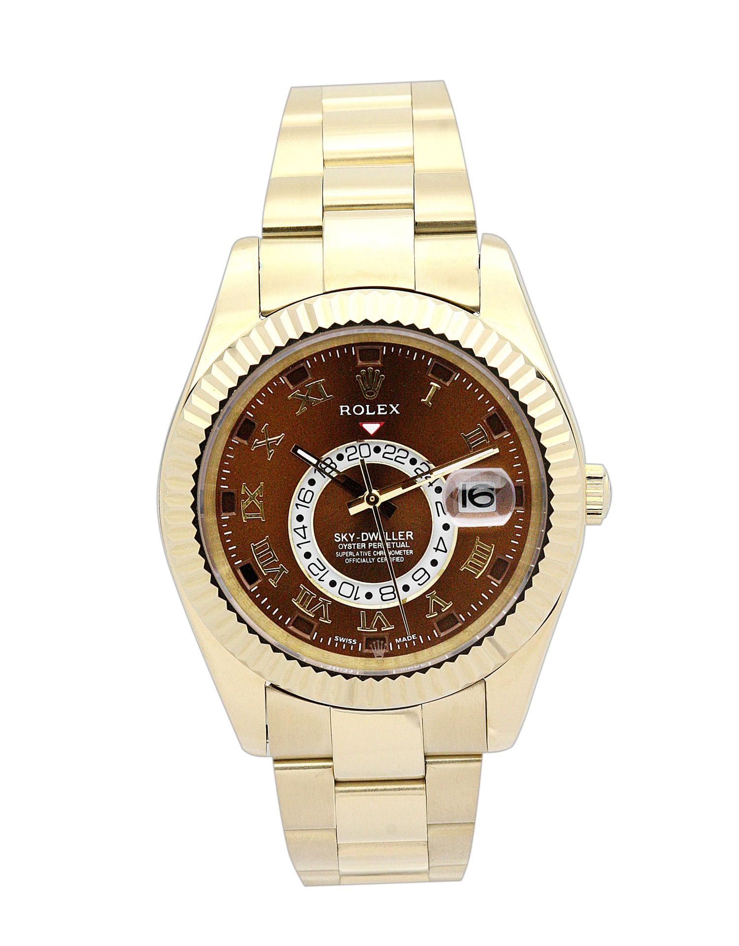 replica Rolex Sky-Dweller 326938 42MM Brown Dial