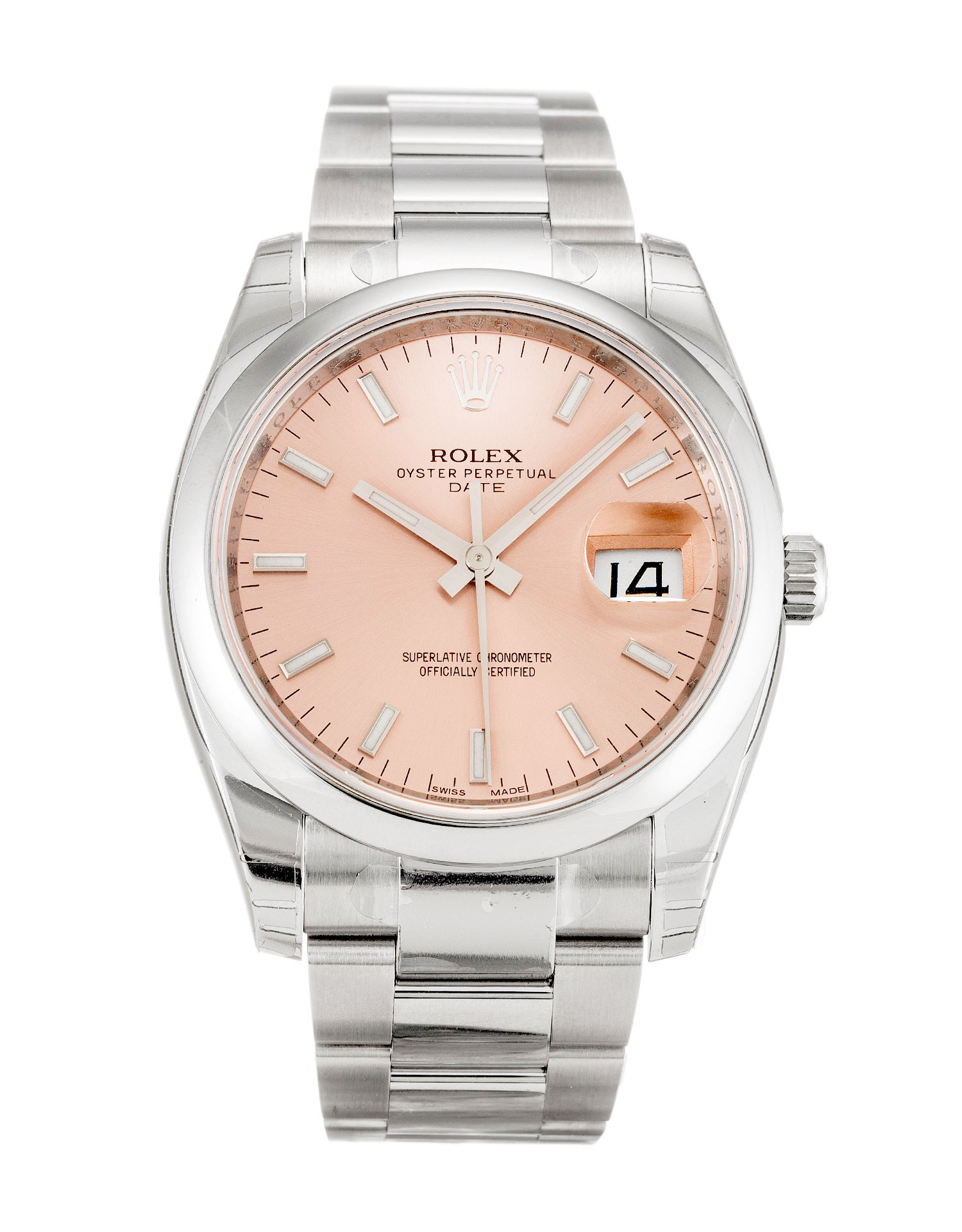 replica Rolex Oyster Perpetual Date 115200 34MM Salmon Dial