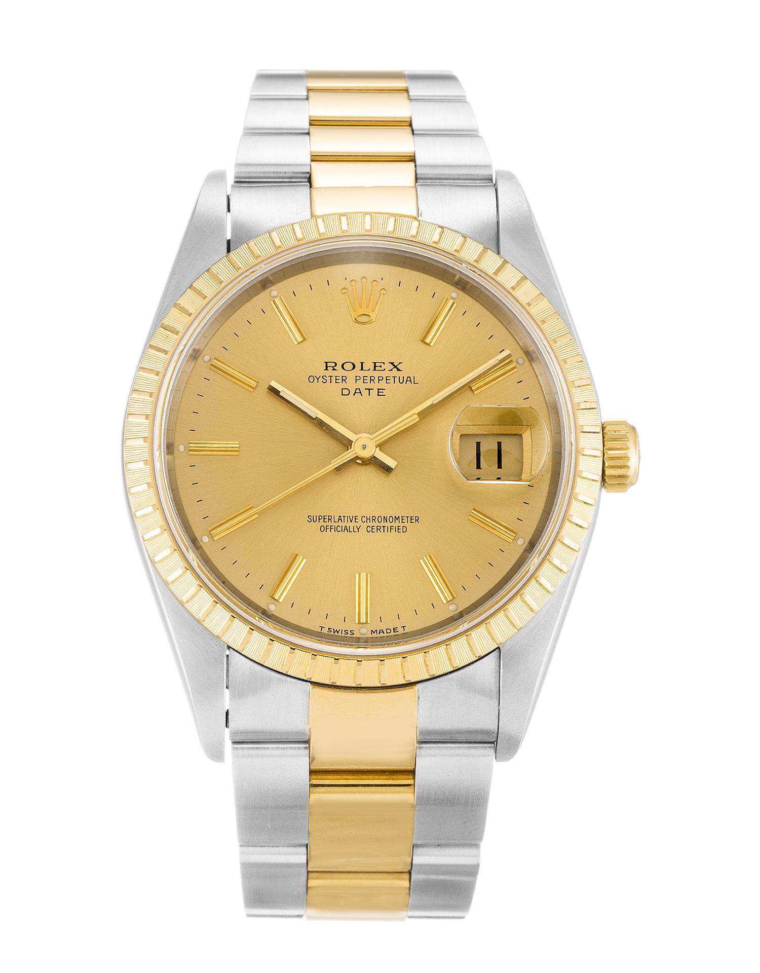 replica Rolex Oyster Perpetual Date 15223 34MM Champagne Dial