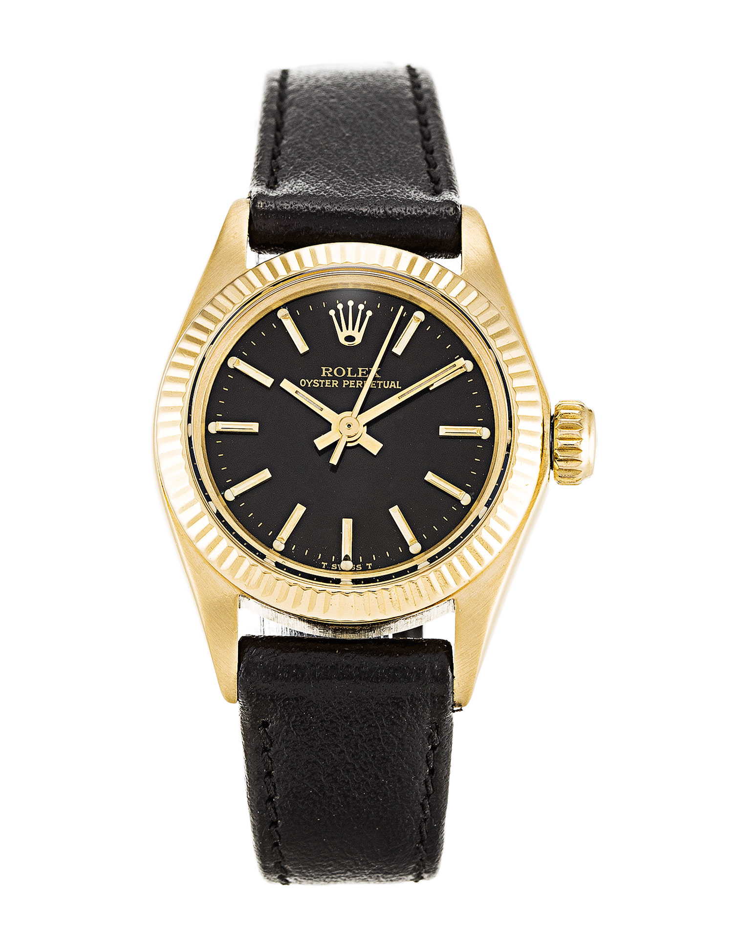 replica Rolex Lady Oyster Perpetual 6718 Black Dial 26MM Black Dial
