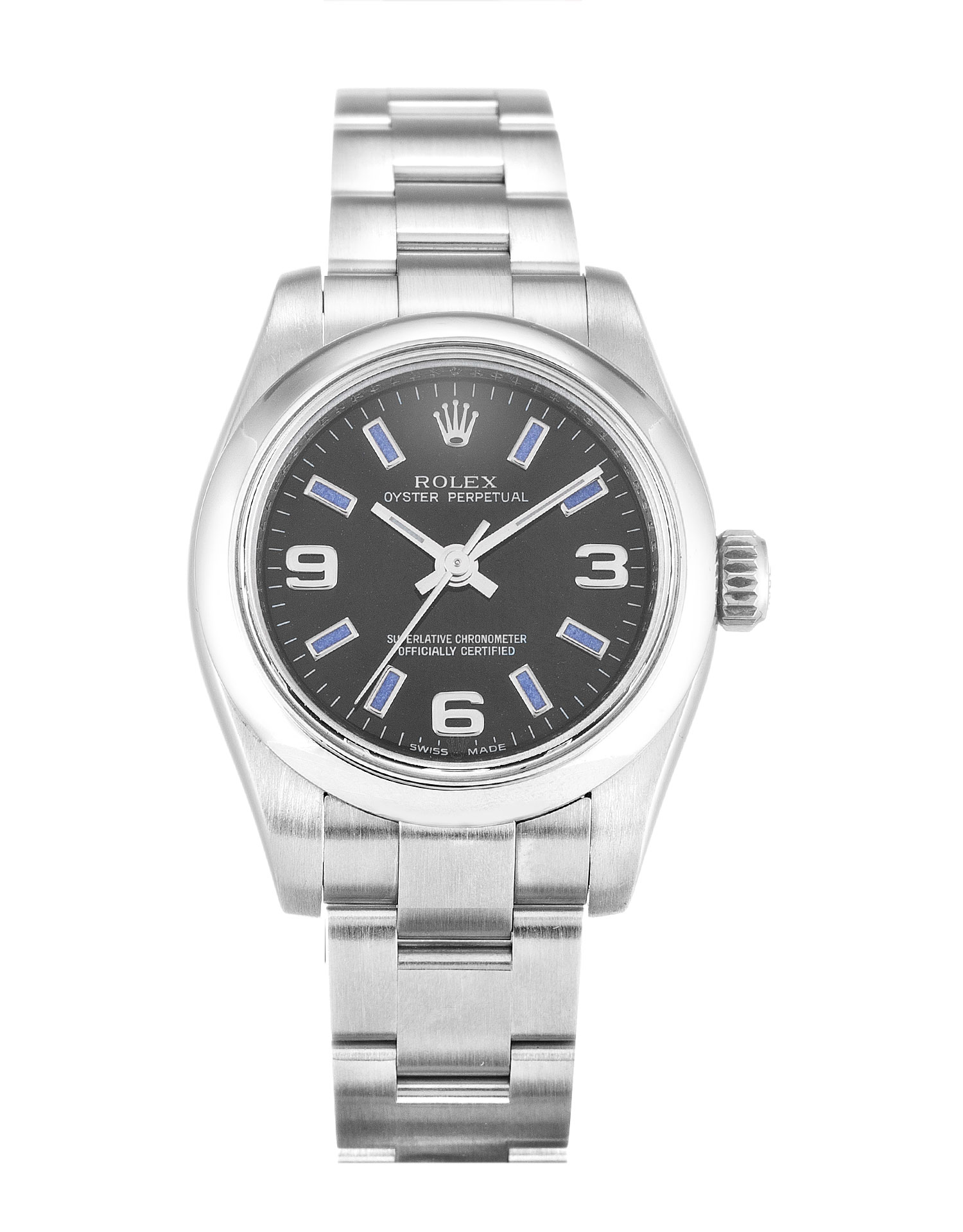 replica Rolex Lady Oyster Perpetual 176200 26MM Black Dial