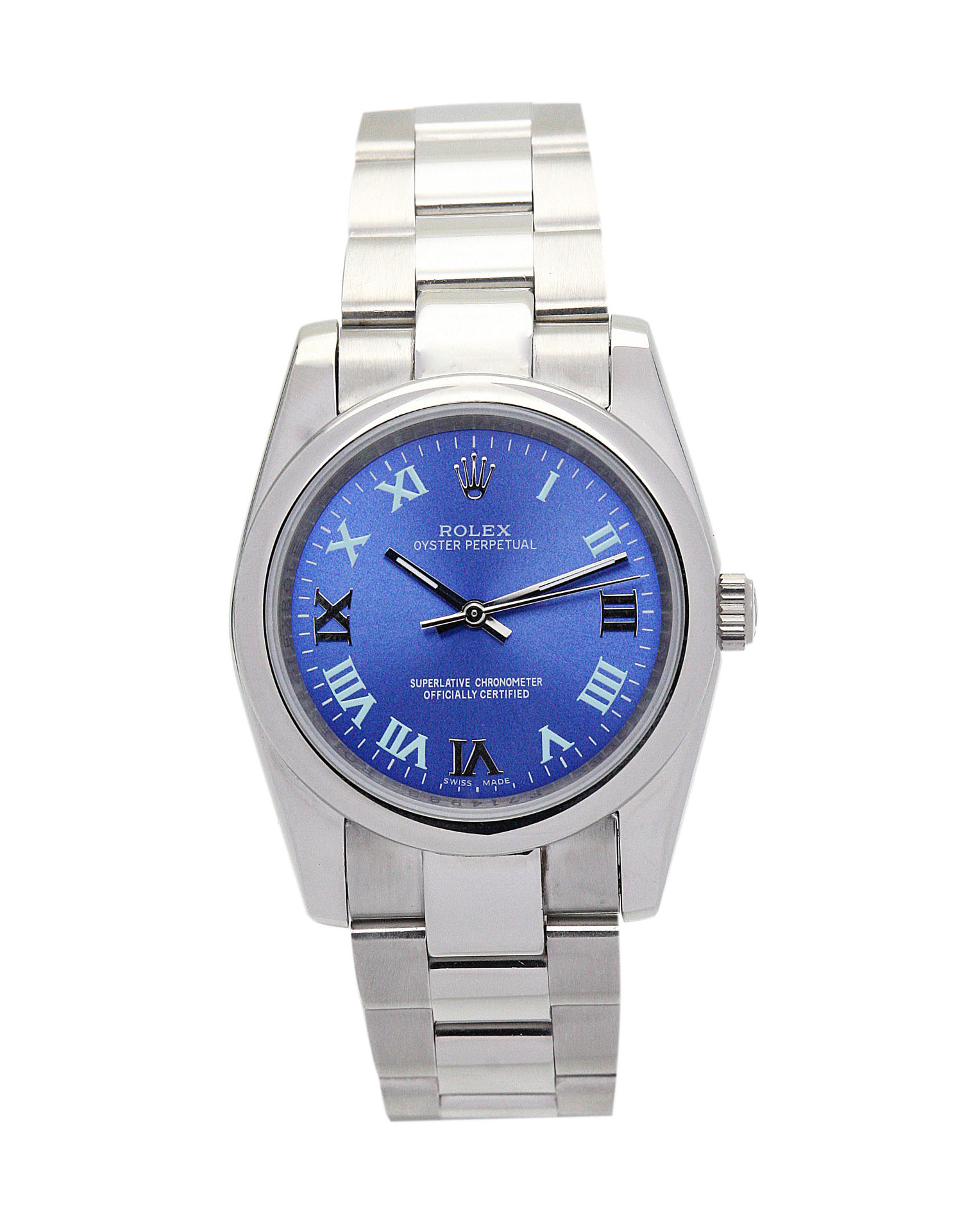 replica Rolex Lady Oyster Perpetual 177200 31MM Blue Dial