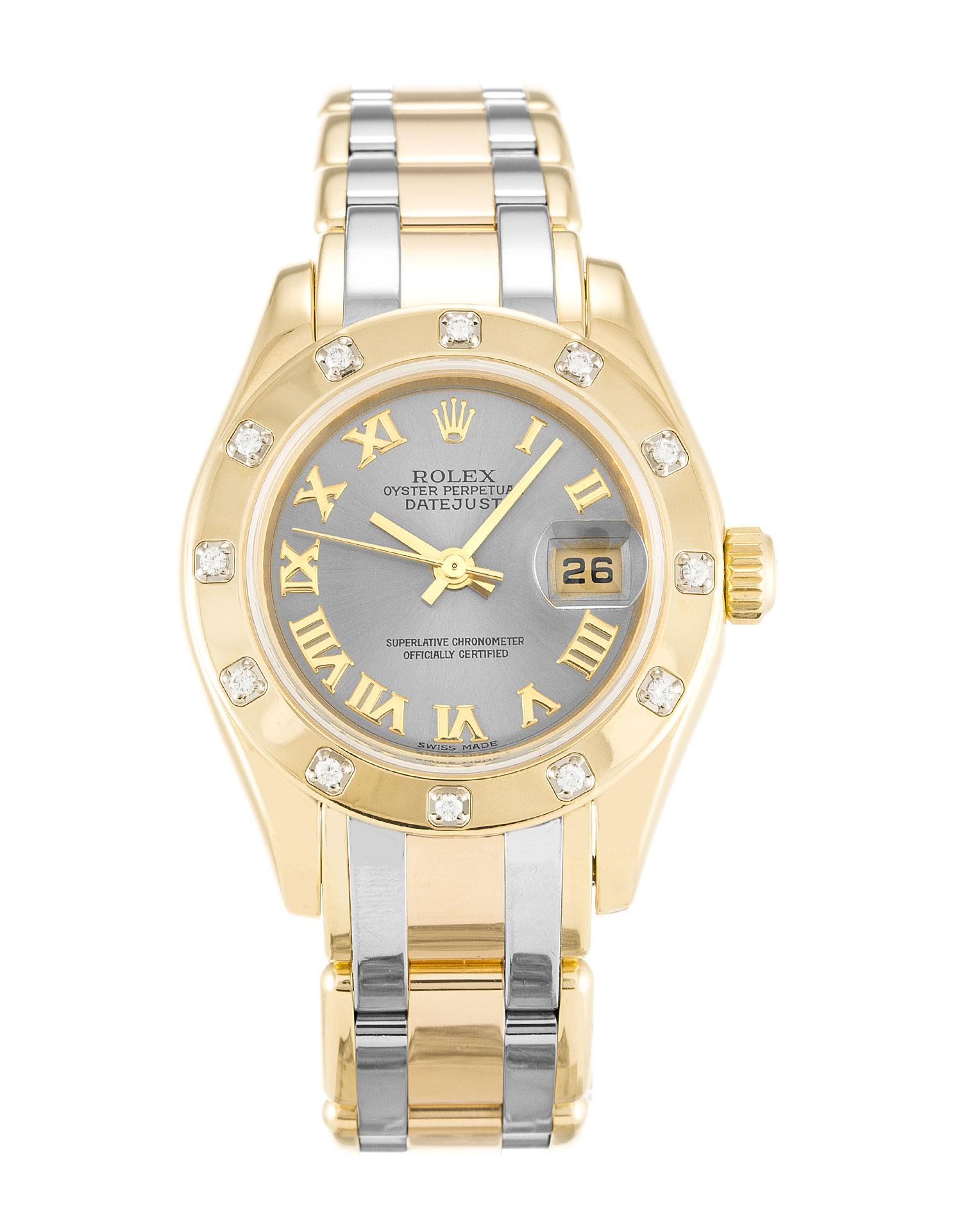 replica Rolex Pearlmaster 80318 28MM Rhodium Dial