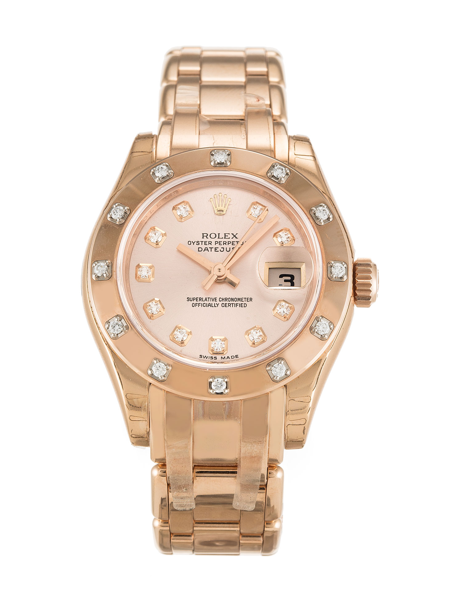 replica Rolex Pearlmaster 80315 29MM Rose Gold Dial