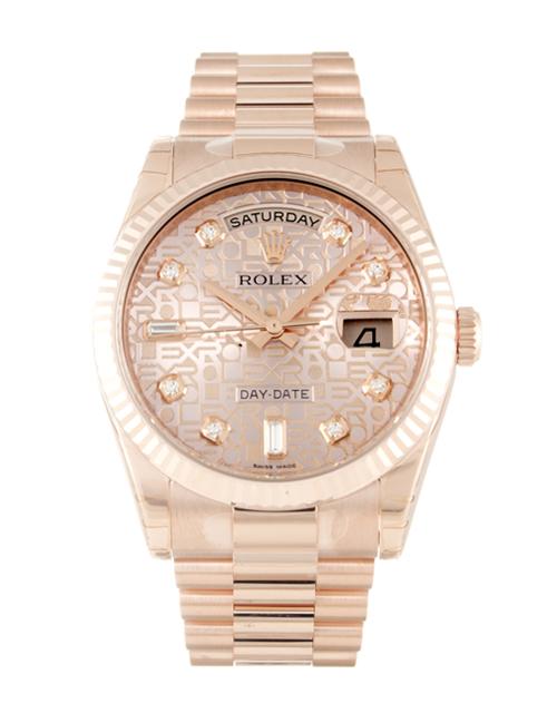 replica Rolex Day-Date 118235 36MM Rose Gold Dial