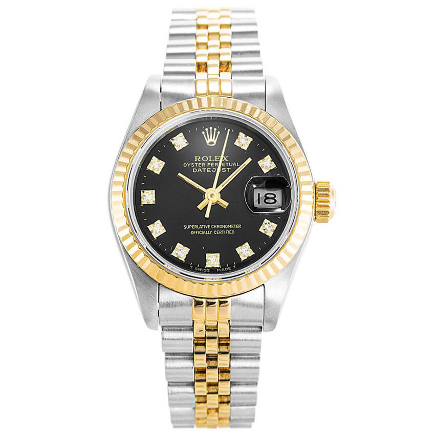 Classic Replica Rolex Datejust watch Automatic Black Diamonds 69173