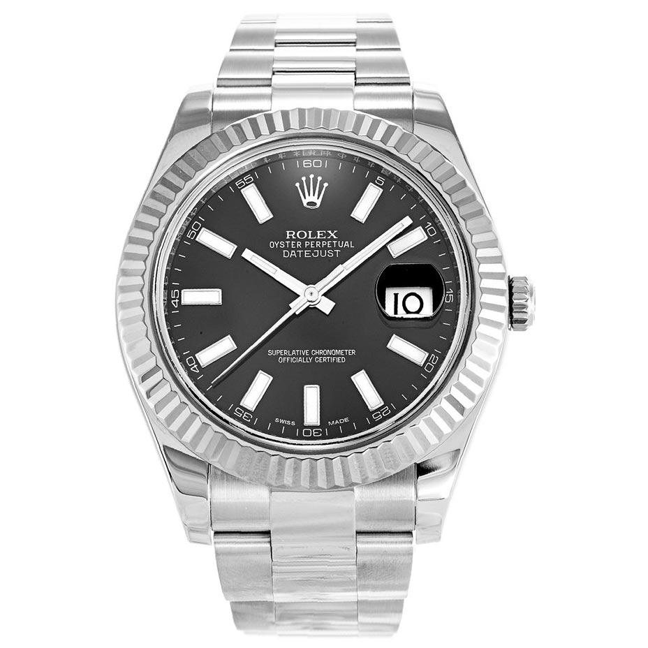 replica Rolex Datejust II Black 116334 41MM Black Dial