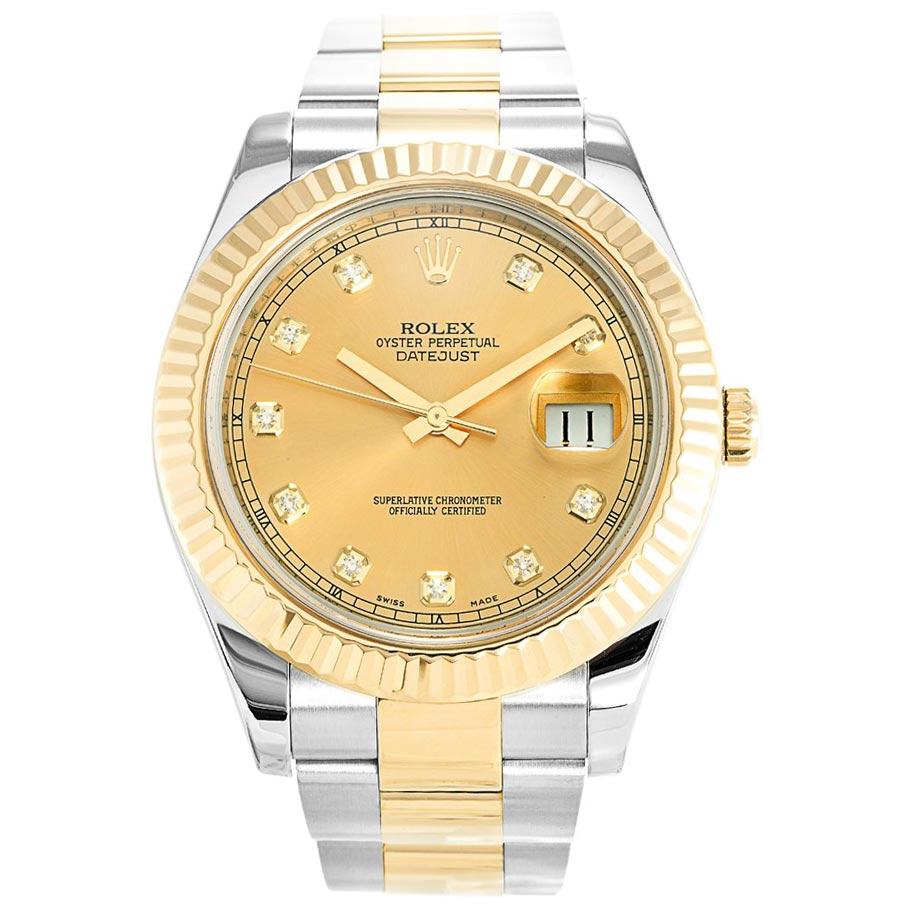 replica Rolex Datejust II Diamond 116333 41MM Gold Dial