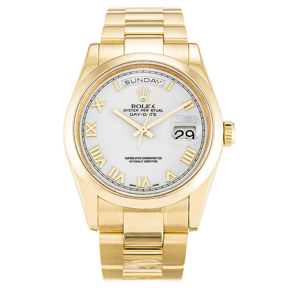 replica Rolex Day-Date White 118208 36MM White Dial