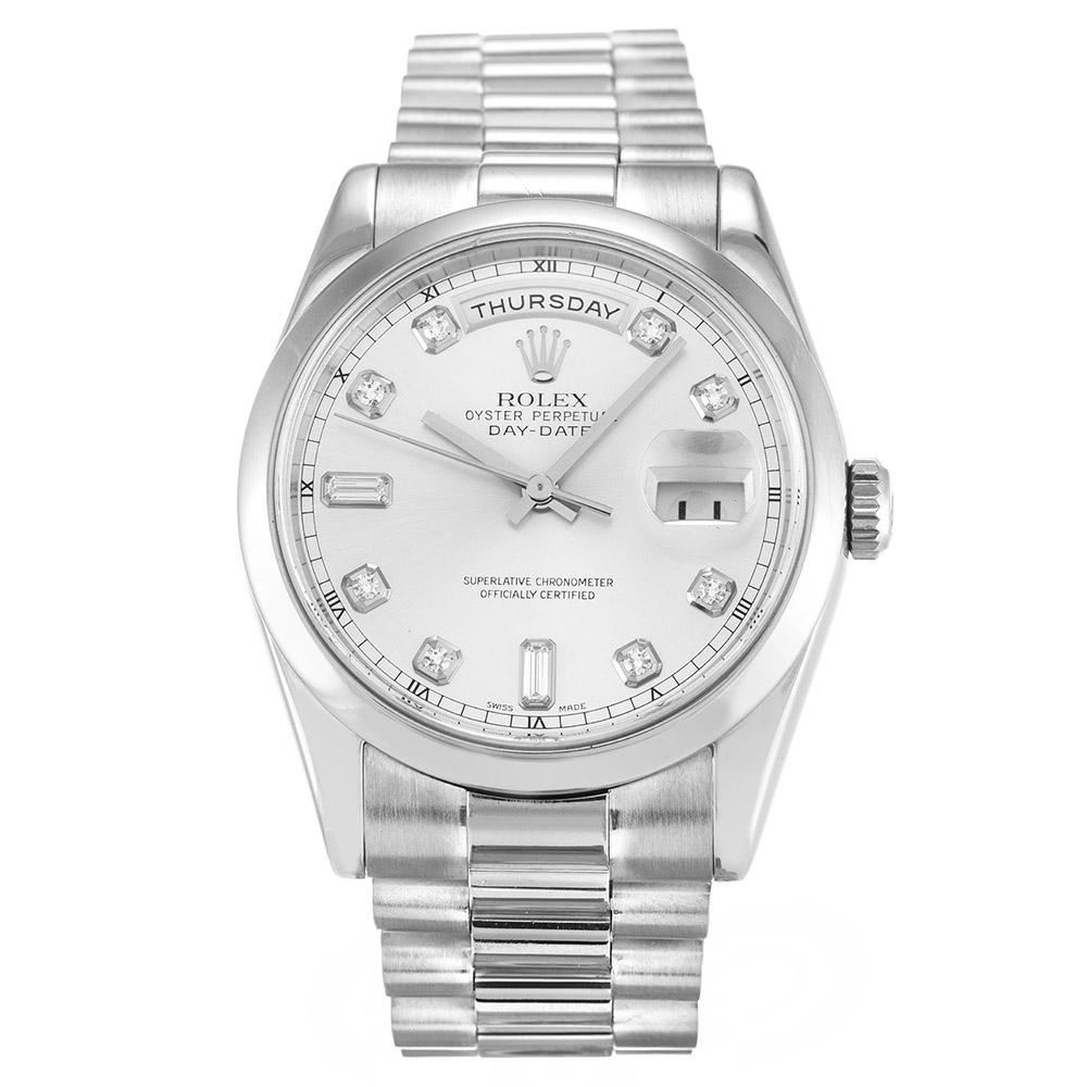 replica Rolex Day-Date Silver 118209 36MM Silver Dial