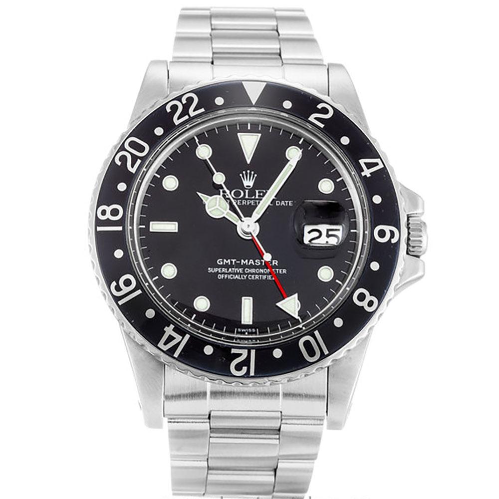replica Rolex GMT Master Black 16750 40MM Black Dial
