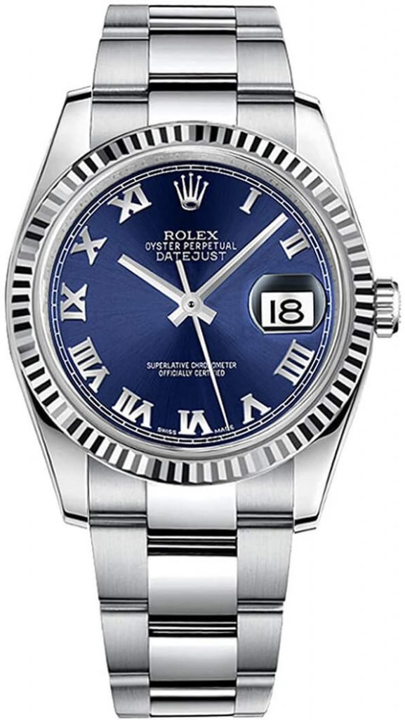 Rolex Datejust Replica 36 116234 Blue Dial With Roman Numeral Markers