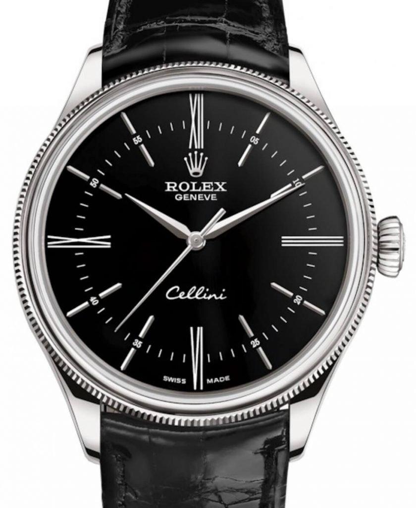 Rolex Replica Cellini Time in White Gold 50509 Black Dial 1