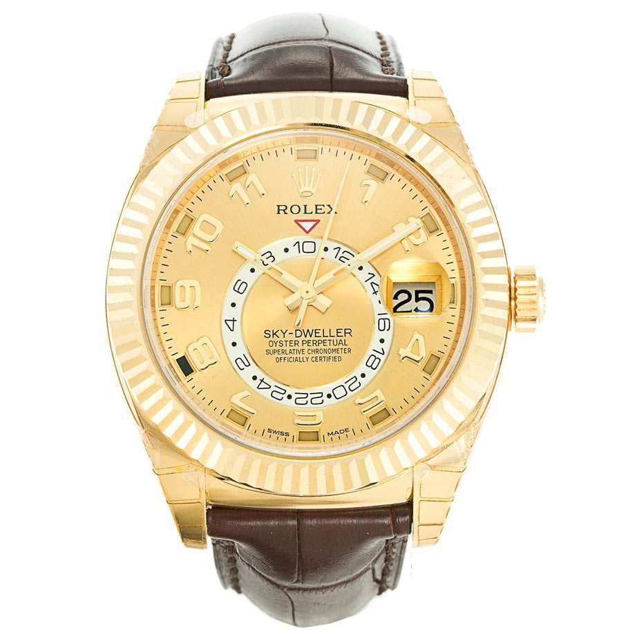 replica Rolex Sky-Dweller 326138 42MM Gold Dial