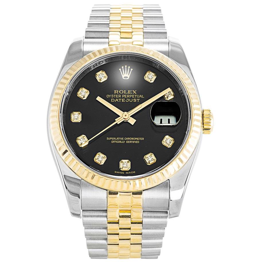 replica Rolex Datejust Two Tone Black 36MM Black Dial