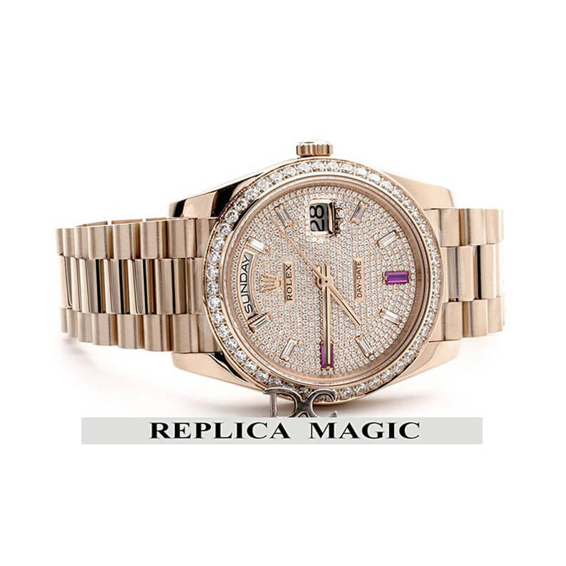 Beautiful Replica Rolex Day-Date 40 Everose Gold Diamond Bezel and Paved Dial 228396