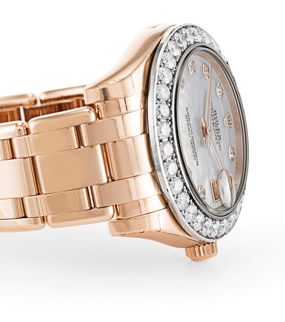 Beautiful replica Rolex watch Pearlmaster Diamond 81285 34mm White Dial-case