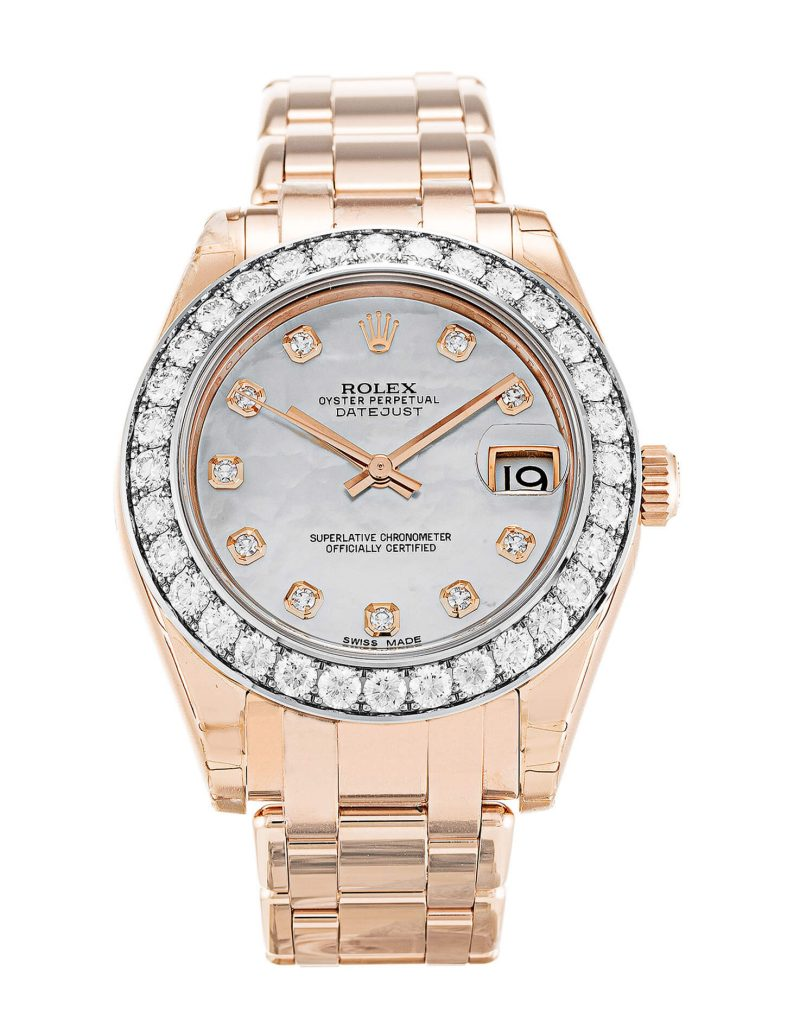 Beautiful replica Rolex Pearlmaster Diamond 81285 34mm White Dial-dial