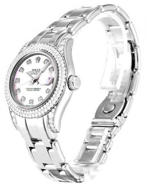 Bright Diamond Replica Watch Rolex Pearlmaster 80359 29mm Pink Dial