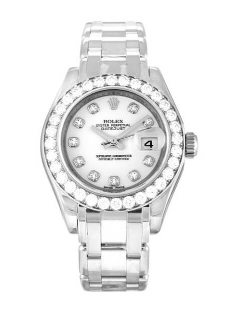 Ladies Rolex Replica Pearlmaster 80299 29mm White Dial