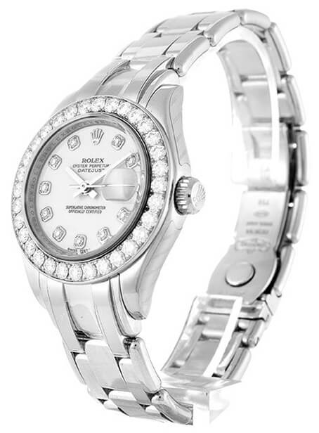 Ladies Rolex Replica Pearlmaster 80299 29mm White Dial-2