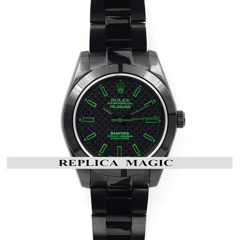 Replica Rolex Bamford Milgauss SE Stealth GV Green Marks Black Dial