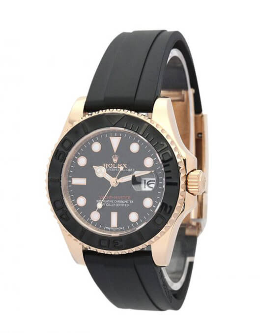 Replica Rolex Perfect Yacht-Master 169622 35mm Black Dial crown