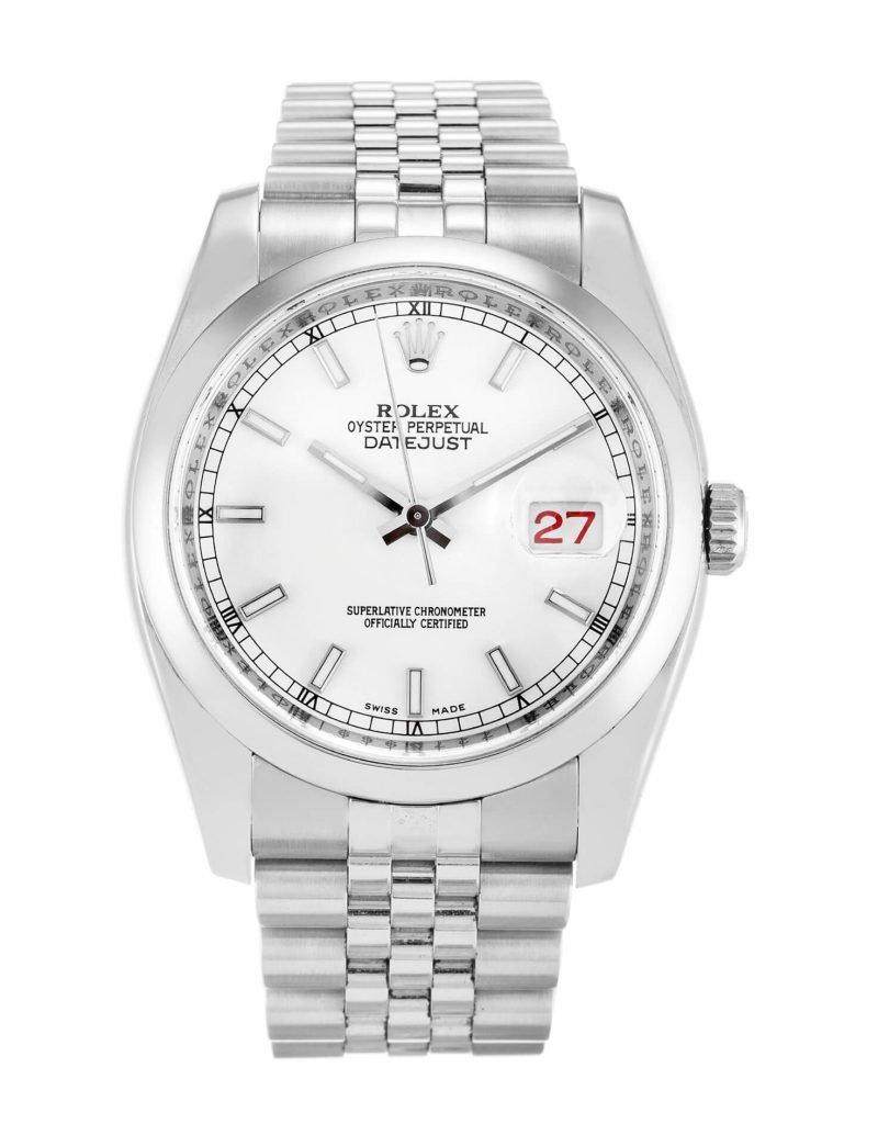 Simple Rolex Replica Datejust 116200 36mm White Dial-case