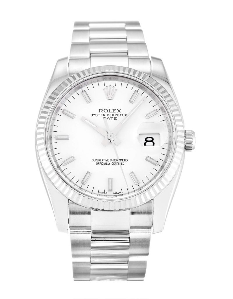 Replica Rolex Oyster Perpetual Date 115234 34mm White Dial