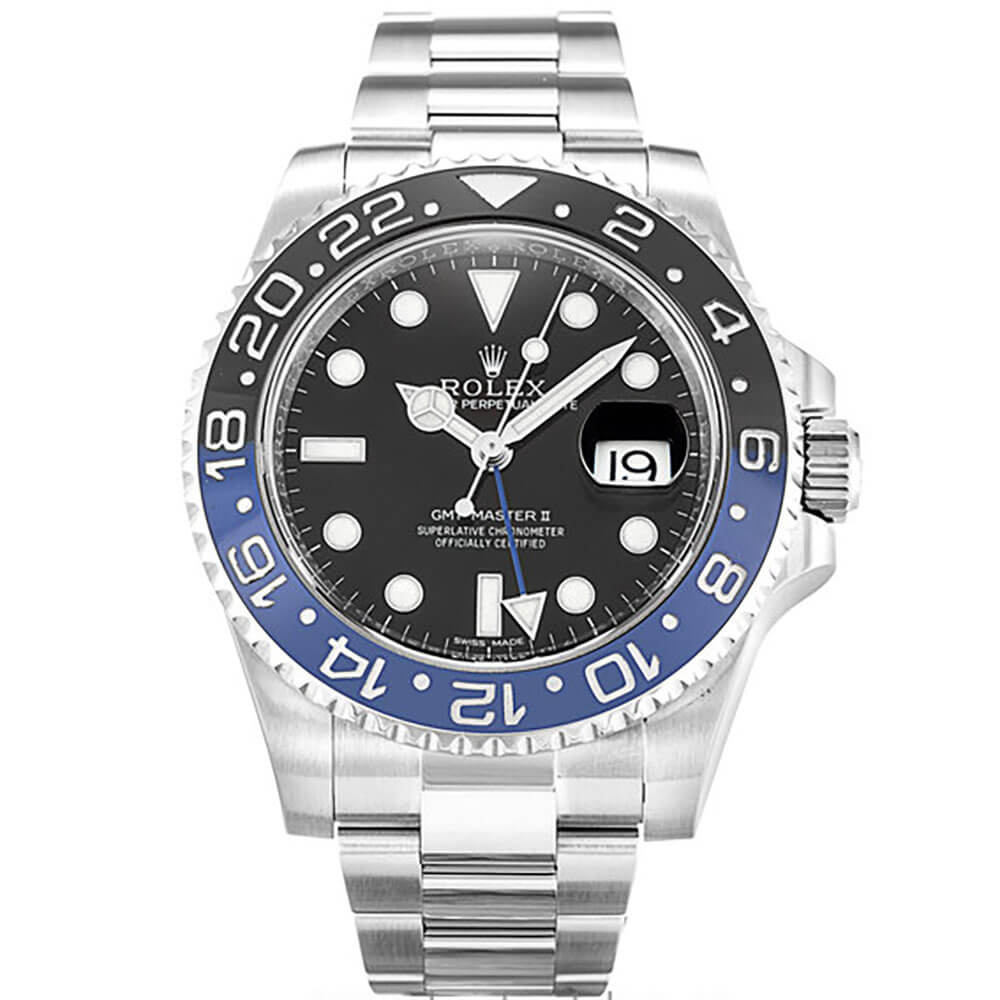 Stainless Bracelet Replica Rolex GMT Master II Watches Blue and Black
